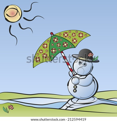 Bye-bye Winter: Melting snowman with umbrella in the sunlight symbolizing the end of winter - stock vector
