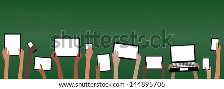 BYOD Banner Concept Bring Your own Device children hands holding computer tablet and smartphone devices by Green Chalkboard with copy space EPS10 Grouped Objects