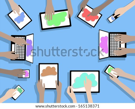BYOD Bring Your Own Device Cloud Computing - Hands using Devices Computers and Tablets - stock vector