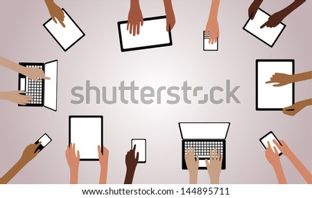 BYOD Concept Bring Your own Device children hands working on computers tablet and smartphone devices overview with copy space EPS10 Grouped Objects  - stock vector