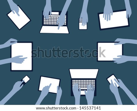 BYOD Concept Bring Your own Device children hands working on computers tablet and smartphone devices blue silhouette overview with copy space EPS10 Grouped Objects  - stock vector