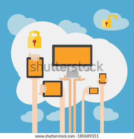 BYOD Concept Bring Your own Device Security  - stock vector