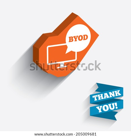 BYOD sign icon. Bring your own device symbol. Monitor tv with speech bubble sign. White icon on orange 3D piece of wall. Carved in stone with long flat shadow. Vector - stock vector