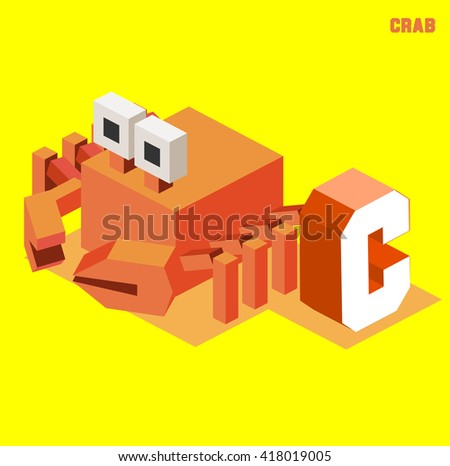 C for Crab, Animal Alphabet collection. vector illustration - stock vector