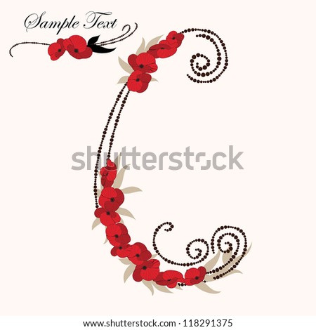 C, hand drawn flower alphabet - stock vector