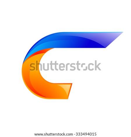 C letter blue and Orange logo design Fast speed design template elements for application. - stock vector