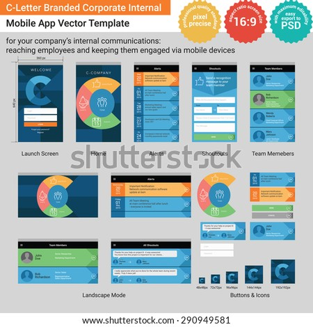 C-Letter Branded Corporate Internal Mobile App Vector Template - stock vector