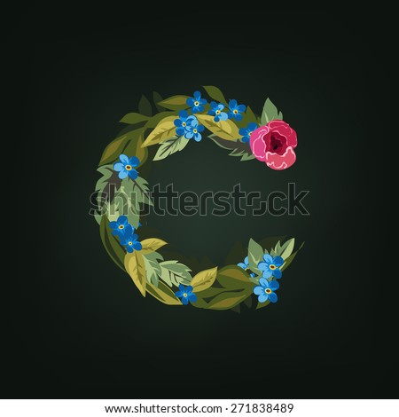 C letter. Flower  alphabet. Colorful font. Lowercase.  Vector illustration. - stock vector