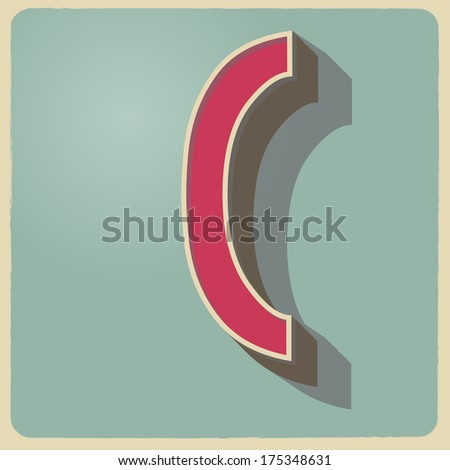 C letter of 3d vector illustrated relief retro font with shadow - stock vector