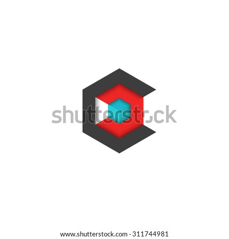 C logo cube isometric, 3D hexagon abstract geometric technology symbol, mockup business card graphic design - stock vector