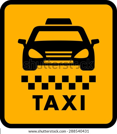 cab car silhouette on yellow taxi icon. passenger transportation symbol - stock vector