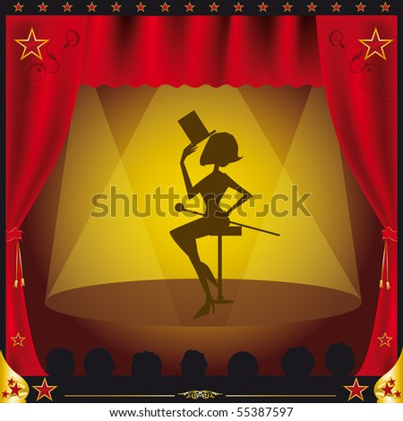cabaret. A women giving performance on a stage.Illustration created with gradient meshes in the curtains. - stock vector