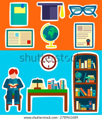 Cabinet furniture and cartoon objects set. Knowledge and shool. Flat style vector illustration. - stock vector
