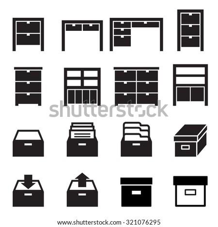 Cabinet & storage icon set - stock vector