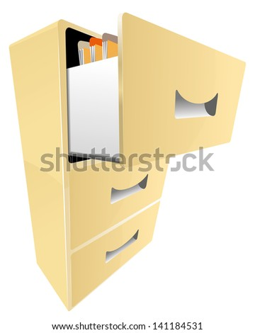 cabinet with documents isolated vector illustration eps 8 / cabinet with documents vector - stock vector