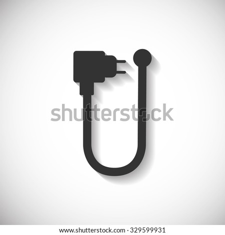 Cable Charger Phone Silhouette Computer Icon , Long Shadow - stock vector