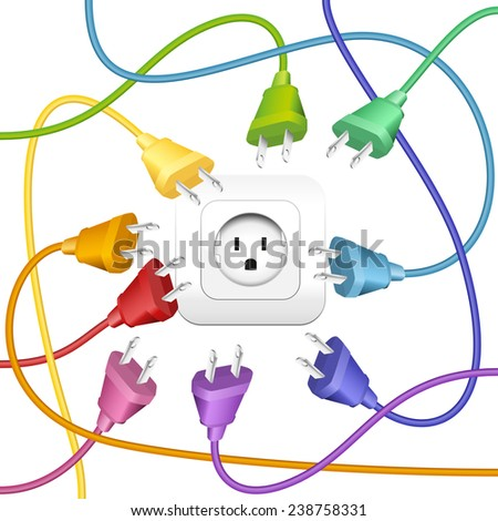 Cable clutter, where many colorful plugs try to put in a socket. Isolated vector illustration on white background. - stock vector