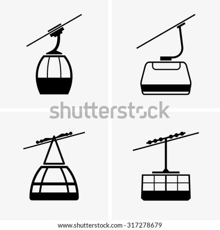 Cableway cabins - stock vector