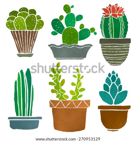 Cacti set, succulents, home flowers, houseplants in pots, blossoms isolated on white background - stock vector