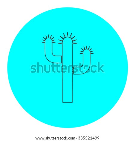 Cactus. Black outline flat icon on blue circle. Simple vector illustration pictogram on white background - stock vector
