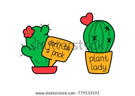 Cactus cartoon set vector isolated funny comic cute character heart text trendy