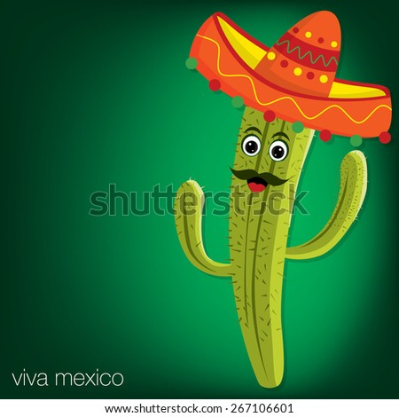 Cactus character card in vector format. - stock vector