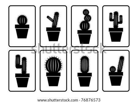 Cactus collection - stock vector