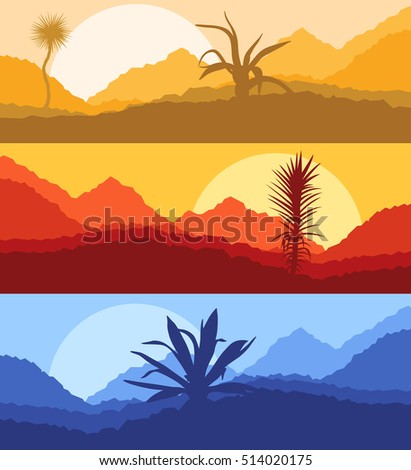 Cactus desert landscape vector background set with sunset and sunrise