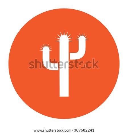 Cactus. Flat white symbol in the orange circle. Vector illustration icon - stock vector