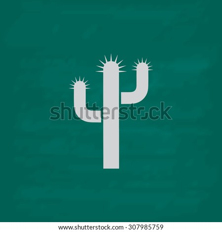 Cactus. Icon. Imitation draw with white chalk on green chalkboard. Flat Pictogram and School board background. Vector illustration symbol - stock vector