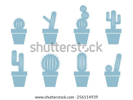 Cactus icons on white background - stock vector