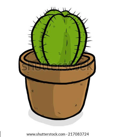 how to draw a cactus in a pot