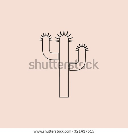 Cactus. OOutline vector icon. Simple flat pictogram on pink background - stock vector