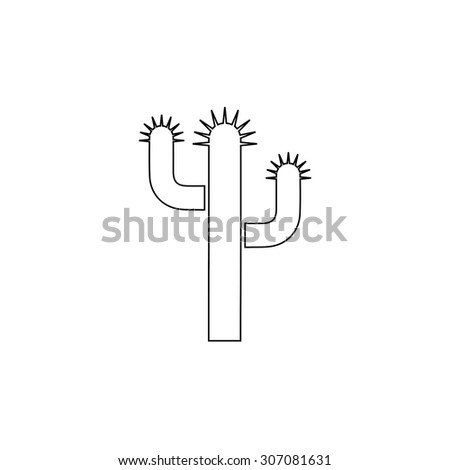 Cactus. Outline black simple vector pictogram - stock vector