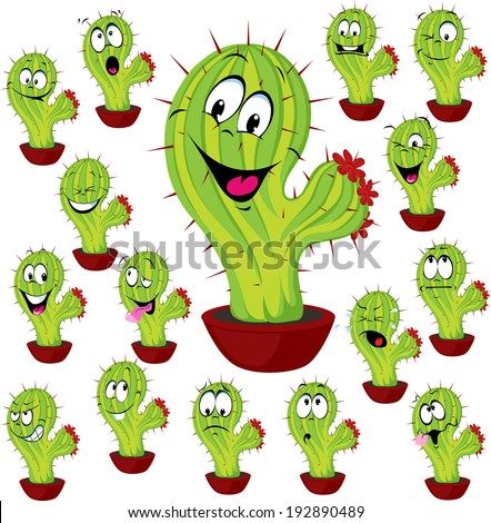 cactus plant vector illustration with many facial expression - stock vector