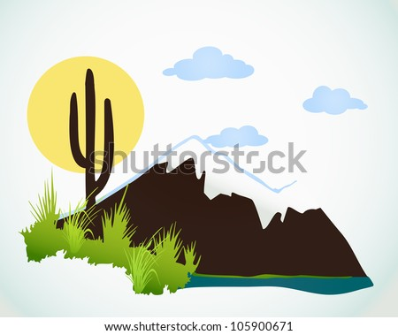 Cactus saguaro And Mountains. Vector background - stock vector