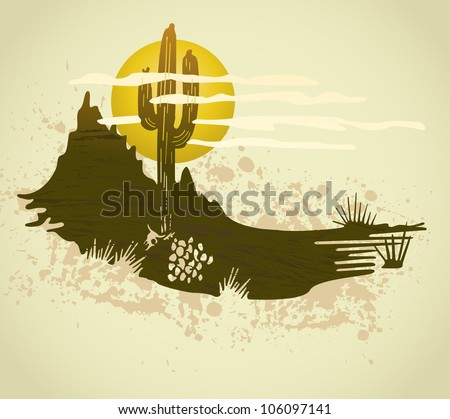 Cactus saguaro grunge background. Vector card - stock vector