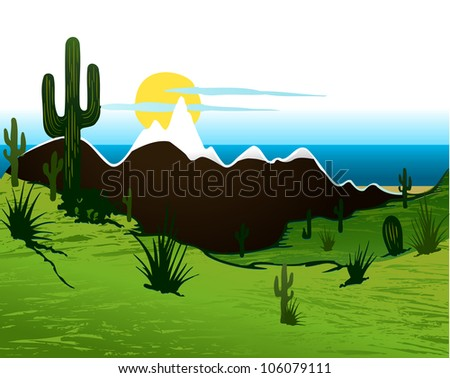Cactus saguaro, mountains and river. Vector background - stock vector