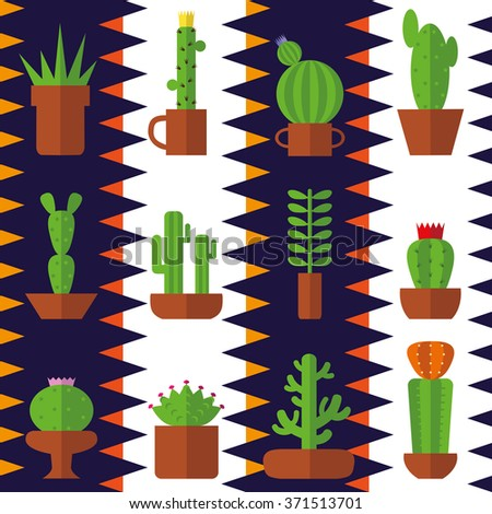 Cactus seamless pattern.Modern flat vector.Collection of succulents,strips zigzag baskground.Green plant icons,desert nature,floral exotic,tropical flower,Home cactus garden,wild botany illustration. - stock vector