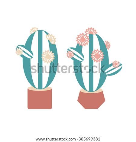 Cactus. Set. Flat. Icon, logo. - stock vector
