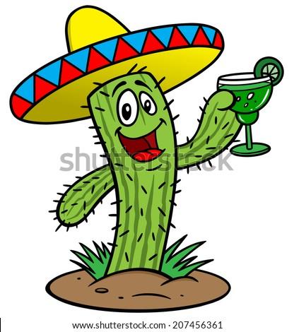 Cactus with Margarita - stock vector