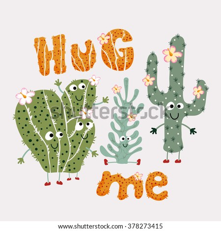 Cactus with typography. Print design idea for jersey fabrics. Vector design for your projects. Artwork idea for children products.