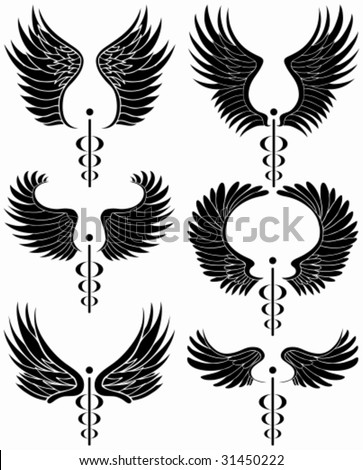 Caduceus Black Set : Set of minimal medical themed icons in a basic black color.