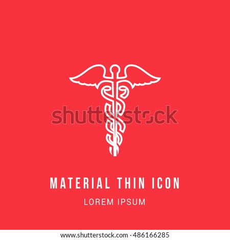 Caduceus Bright red material designed line thin flat icon / logo