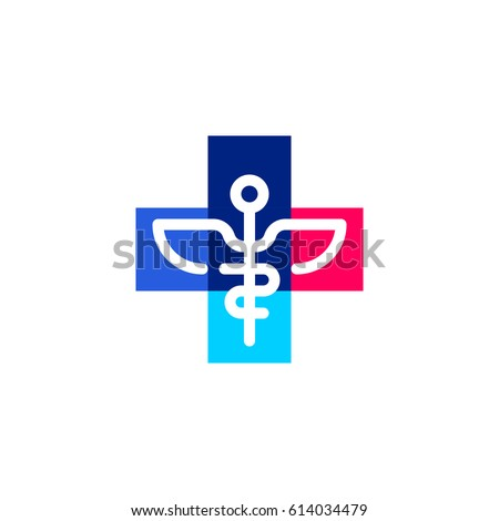 Caduceus in cross plus. Medicine and health care vector logo mark template or icon