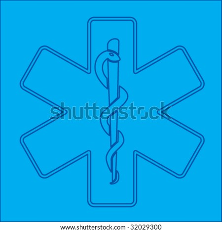 caduceus medical symbol blueprint - stock vector