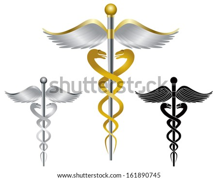 Caduceus Medical Symbol for Health Care Organizations Isolated on White Background Vector Illustration