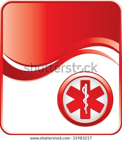 caduceus medical symbol on red background - stock vector