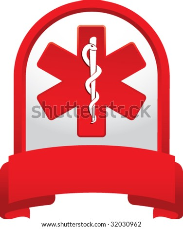 caduceus medical symbol on red banner - stock vector
