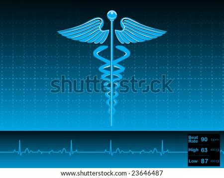 caduceus medical symbol vector illustration - stock vector